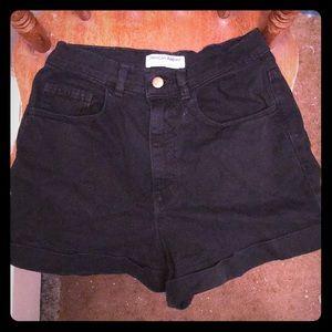 American Apparel Black Cuffed Short